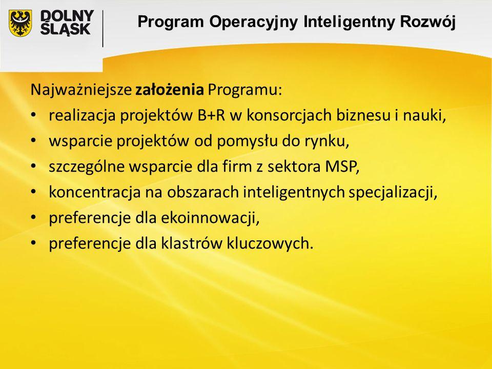 Program Operacyjny Inteligentny Rozwój Najważniejsze założenia Programu: realizacja projektów B+R w konsorcjach biznesu i nauki, wsparcie projektów od