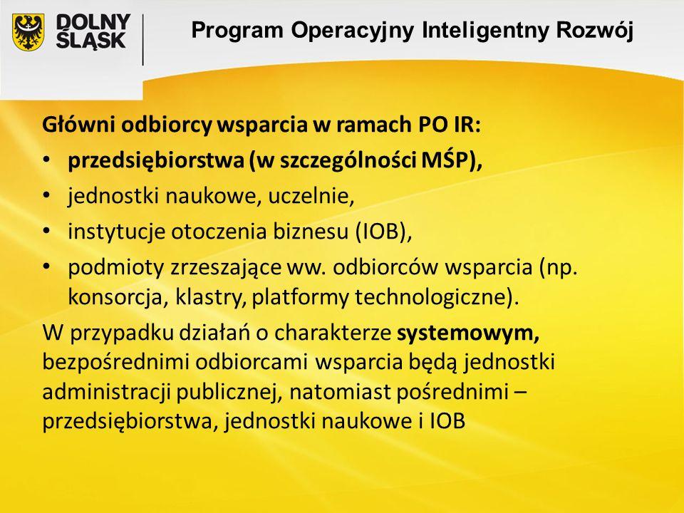 Program Operacyjny Inteligentny Rozwój Główni odbiorcy wsparcia w ramach PO IR: przedsiębiorstwa (w szczególności MŚP), jednostki naukowe, uczelnie, i