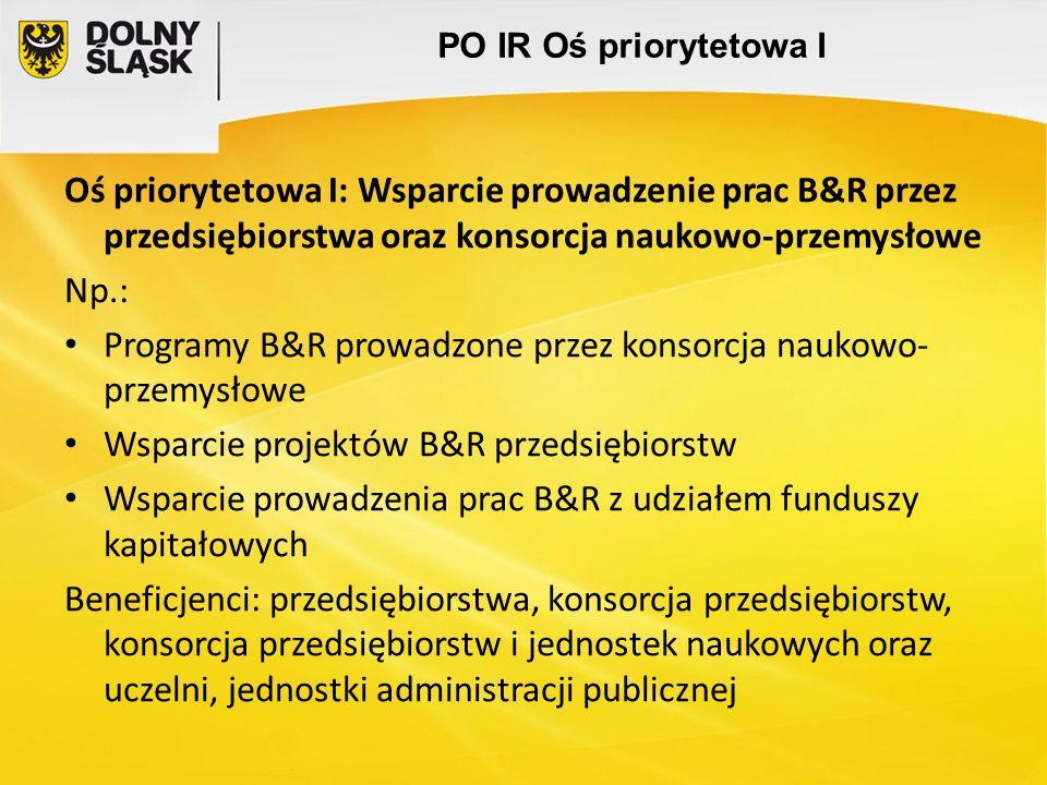 PO IR Oś priorytetowa I Oś priorytetowa I: Wsparcie prowadzenie prac B&R przez przedsiębiorstwa oraz konsorcja naukowo-przemysłowe Np.: Programy B&R p