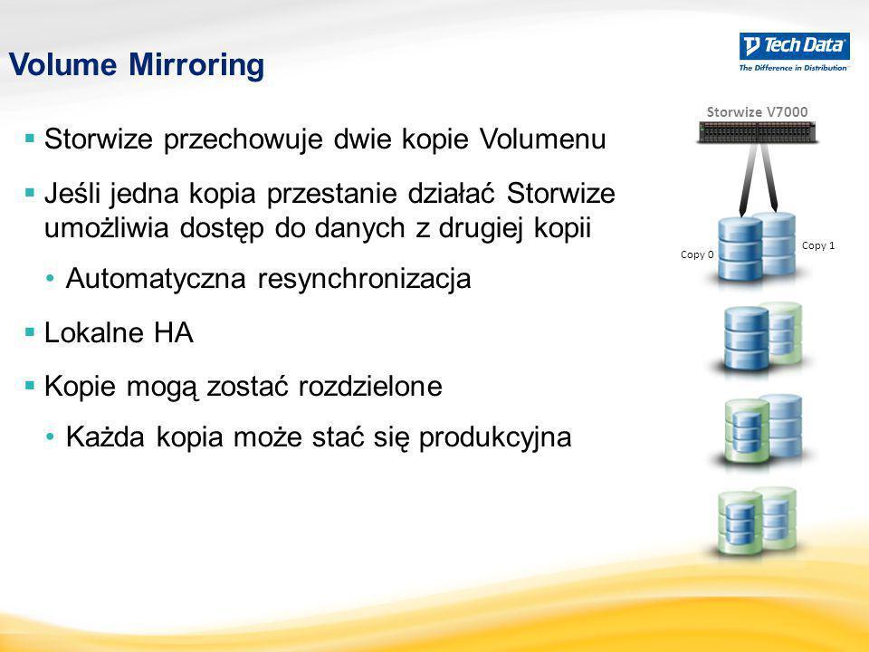 Volume Mirroring  Storwize przechowuje dwie kopie Volumenu  Jeśli jedna kopia przestanie działać Storwize umożliwia dostęp do danych z drugiej kopii