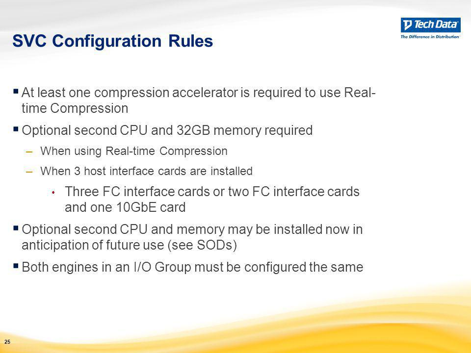 SVC Configuration Rules  At least one compression accelerator is required to use Real- time Compression  Optional second CPU and 32GB memory require