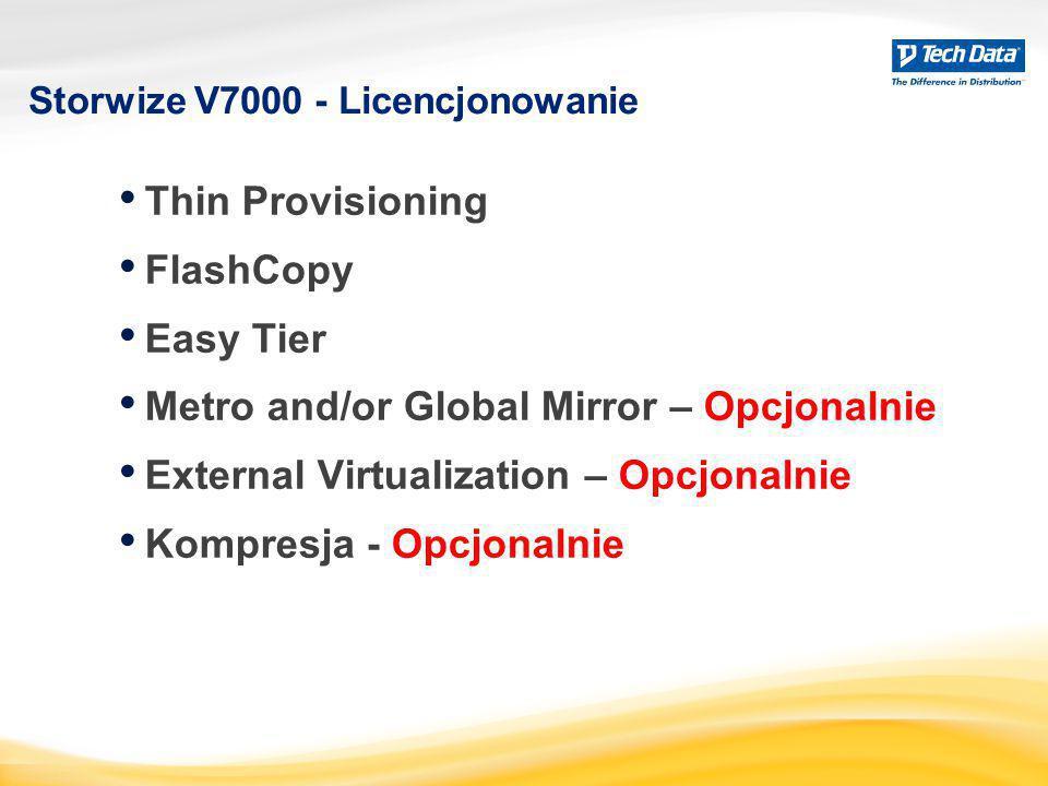 Storwize V7000 - Licencjonowanie Thin Provisioning FlashCopy Easy Tier Metro and/or Global Mirror – Opcjonalnie External Virtualization – Opcjonalnie