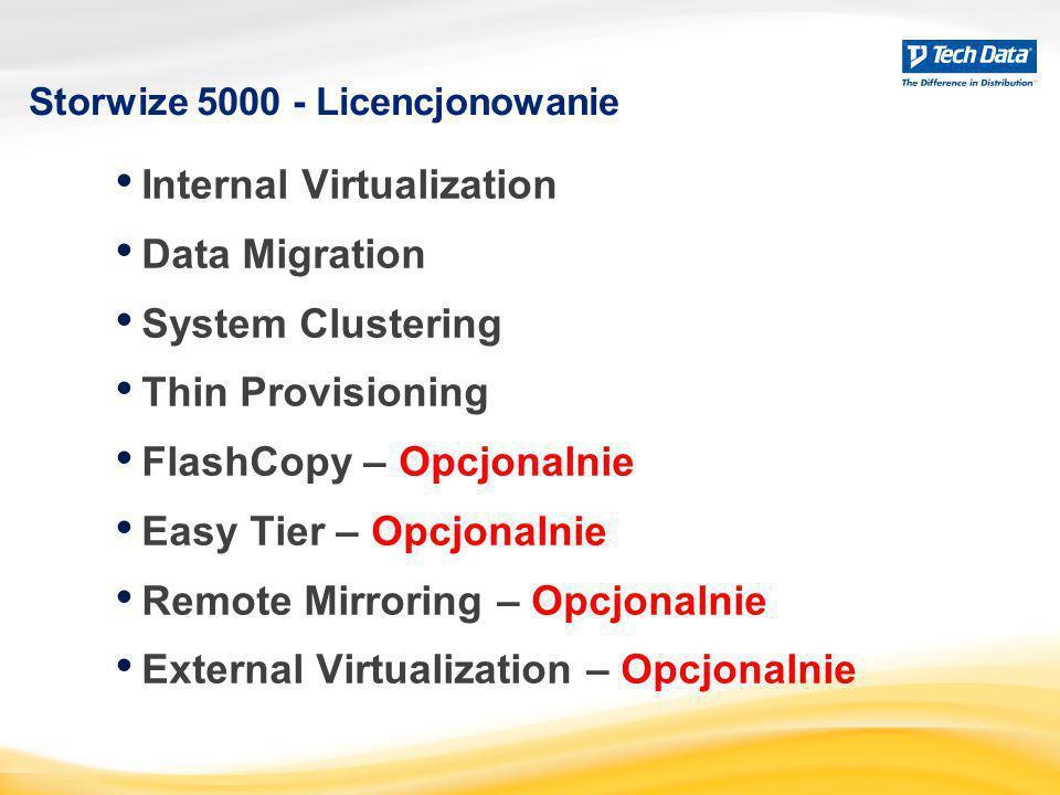 Storwize 5000 - Licencjonowanie Internal Virtualization Data Migration System Clustering Thin Provisioning FlashCopy – Opcjonalnie Easy Tier – Opcjona