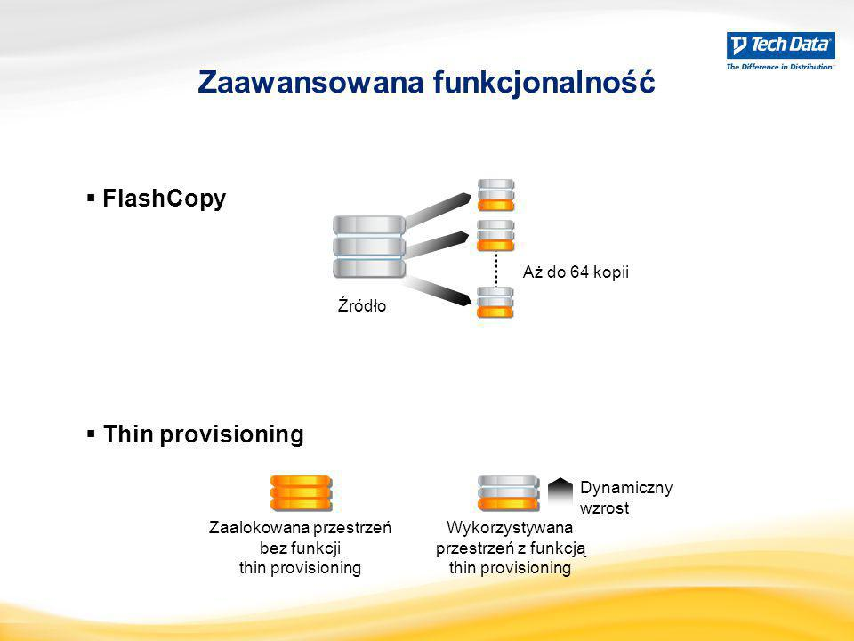  FlashCopy Zaawansowana funkcjonalność Źródło Aż do 64 kopii  Thin provisioning Zaalokowana przestrzeń bez funkcji thin provisioning Wykorzystywana