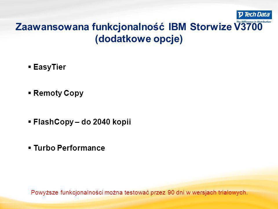 EasyTier  Remoty Copy  Turbo Performance Zaawansowana funkcjonalność IBM Storwize V3700 (dodatkowe opcje)  FlashCopy – do 2040 kopii Powyższe fun