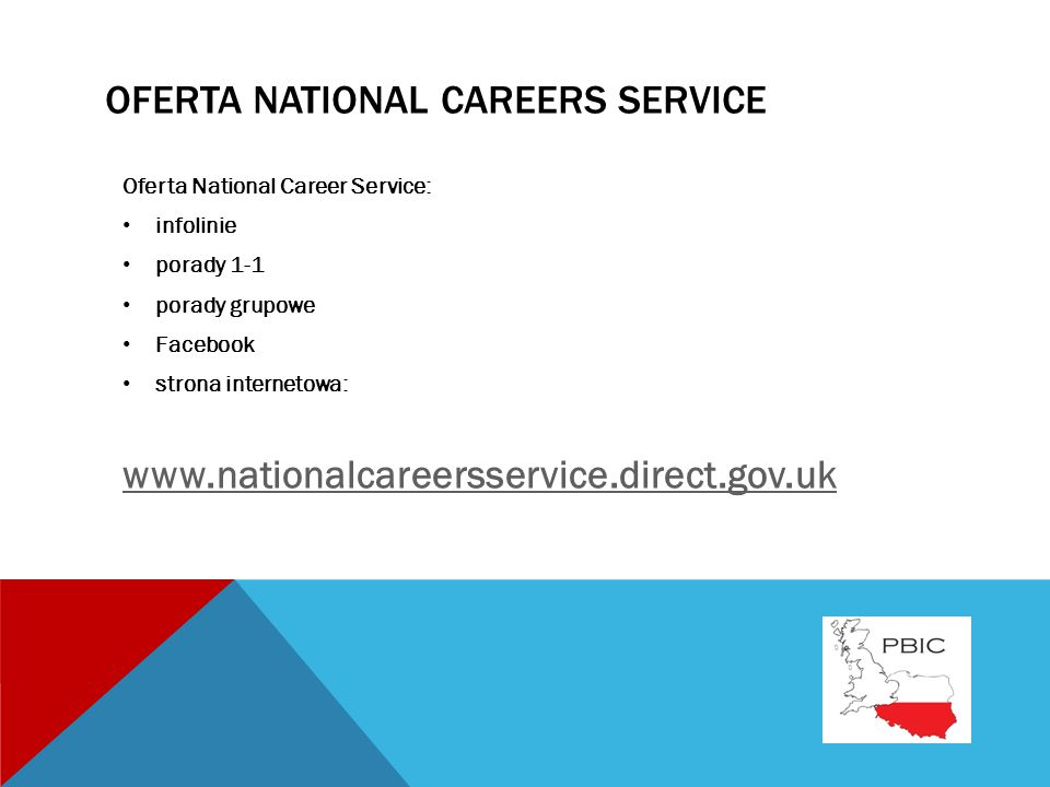 OFERTA NATIONAL CAREERS SERVICE Oferta National Career Service: infolinie porady 1-1 porady grupowe Facebook strona internetowa: www.nationalcareersservice.direct.gov.uk