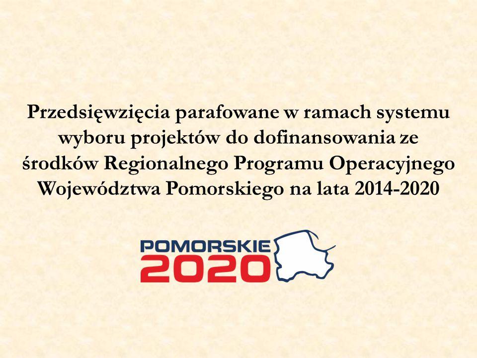 Przedsięwzięcia parafowane w ramach systemu wyboru projektów do dofinansowania ze środków Regionalnego Programu Operacyjnego Województwa Pomorskiego na lata 2014-2020