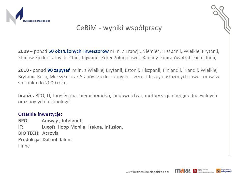 www.businessinmalopolska.com CeBiM - wyniki współpracy 2009 – ponad 50 obsłużonych inwestorów m.in. Z Francji, Niemiec, Hiszpanii, Wielkiej Brytanii,