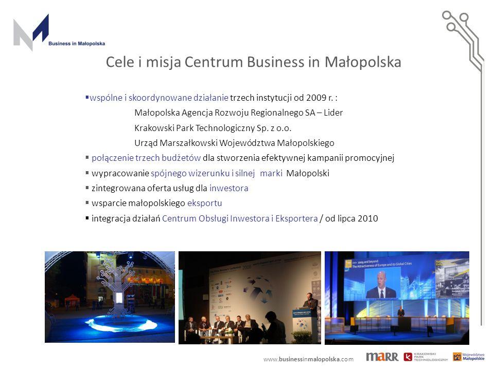 www.businessinmalopolska.com Promocja i współpraca międzynarodowa - organizacja misji, konferencji, wydarzeń gospodarczych (krajowych: Krynica, Kraków i zagranicznych: USA, Chiny, Niemcy, Belgia, UK,); promocja projektów PPP, - obsługa zagranicznych wizyt gospodarczych w Małopolsce, w tym w ramach wieloletnich programów o współpracy.