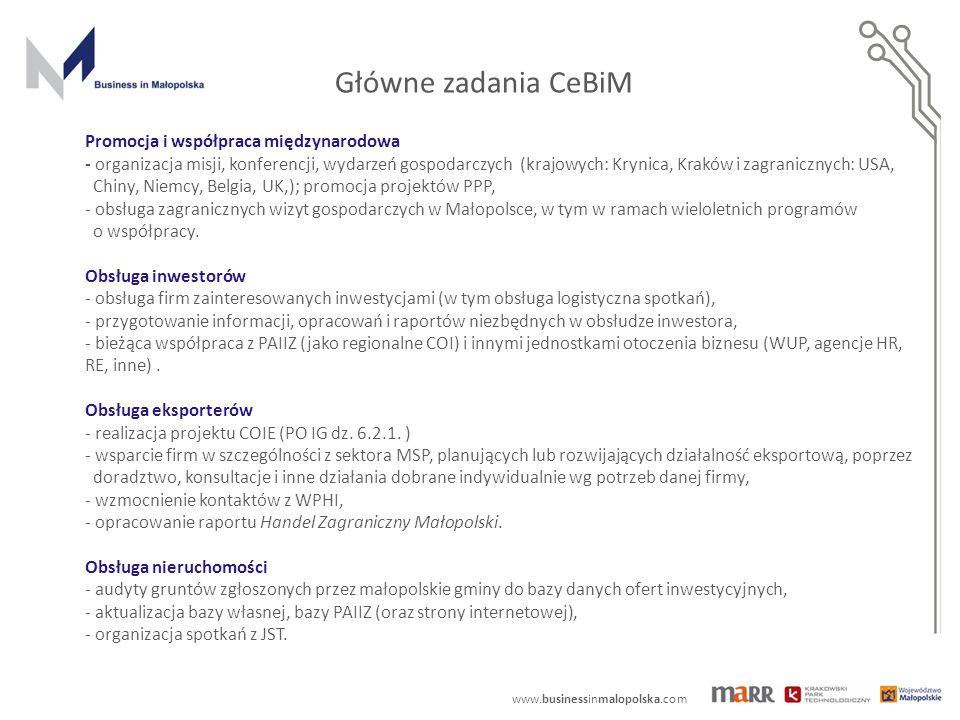 www.businessinmalopolska.com Zrealizowane kampanie : kampania telewizyjna w TVN24, CNN artykuły w prasie ogólnopolskiej Kampania internetowa w międzynarodowych portalach gospodarczych radiowa kampania promocyjna CeBiM – promocja w mediach