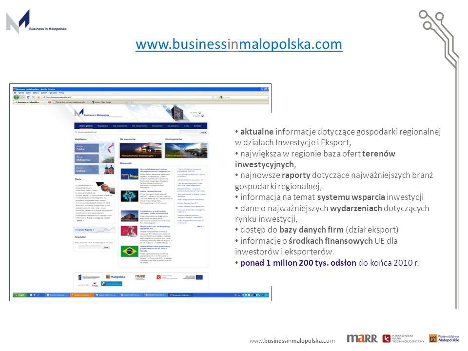 www.businessinmalopolska.com aktualne informacje dotyczące gospodarki regionalnej w działach Inwestycje i Eksport, największa w regionie baza ofert terenów inwestycyjnych, najnowsze raporty dotyczące najważniejszych branż gospodarki regionalnej, informacja na temat systemu wsparcia inwestycji dane o najważniejszych wydarzeniach dotyczących rynku inwestycji, dostęp do bazy danych firm (dział eksport) informacje o środkach finansowych UE dla inwestorów i eksporterów.