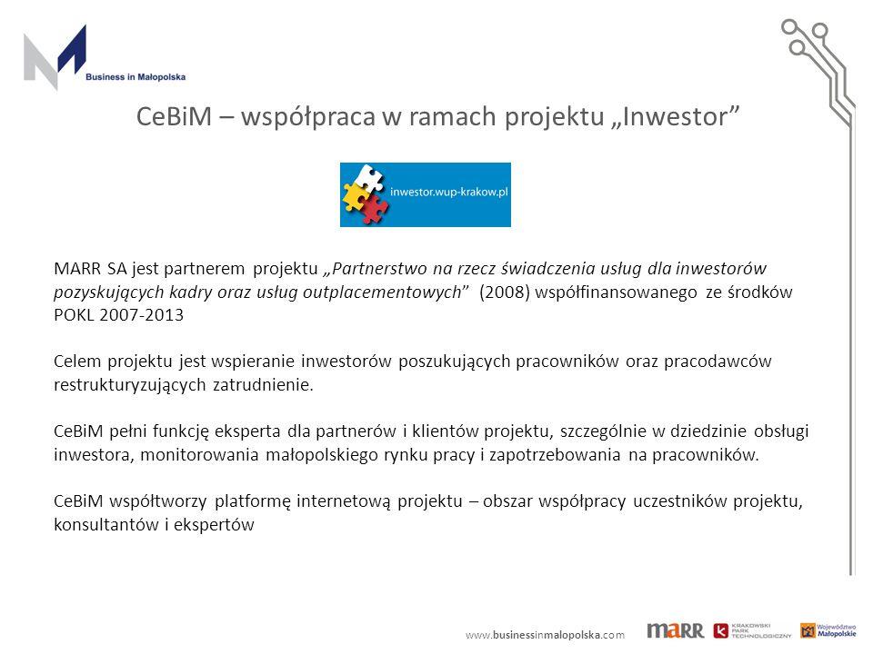 """MARR SA jest partnerem projektu """"Partnerstwo na rzecz świadczenia usług dla inwestorów pozyskujących kadry oraz usług outplacementowych (2008) współfinansowanego ze środków POKL 2007-2013 Celem projektu jest wspieranie inwestorów poszukujących pracowników oraz pracodawców restrukturyzujących zatrudnienie."""