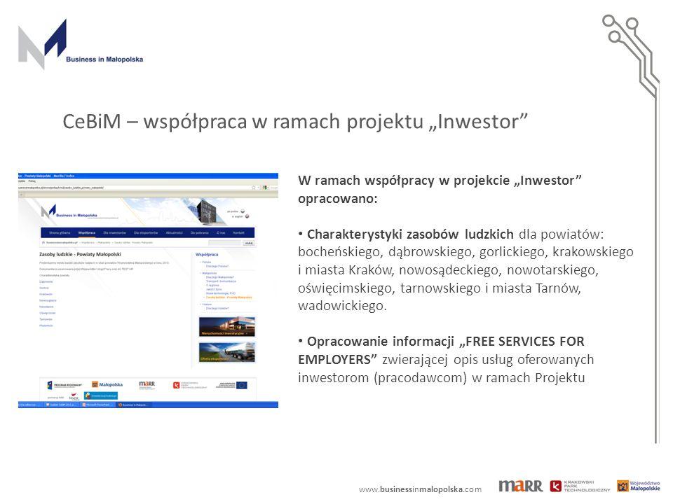 """www.businessinmalopolska.com CeBiM – współpraca w ramach projektu """"Inwestor"""" W ramach współpracy w projekcie """"Inwestor"""" opracowano: Charakterystyki za"""