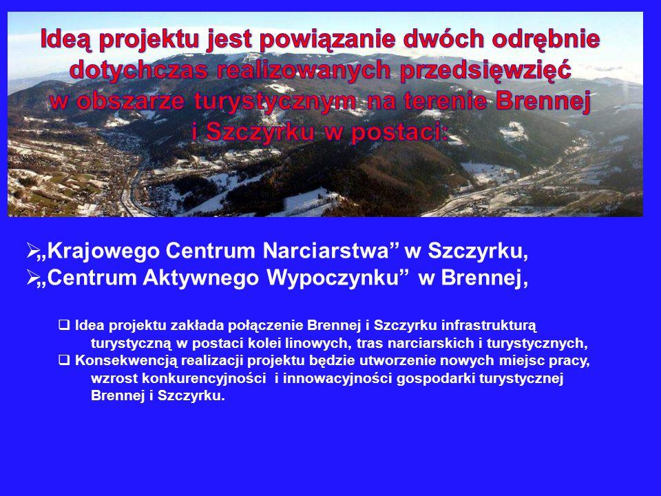 """ """"Krajowego Centrum Narciarstwa"""" w Szczyrku,  """"Centrum Aktywnego Wypoczynku"""" w Brennej,  Idea projektu zakłada połączenie Brennej i Szczyrku infras"""