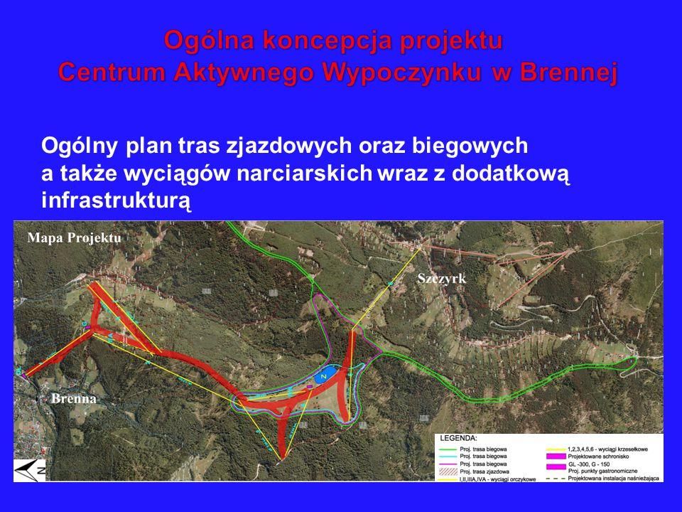 Ogólny plan tras zjazdowych oraz biegowych a także wyciągów narciarskich wraz z dodatkową infrastrukturą