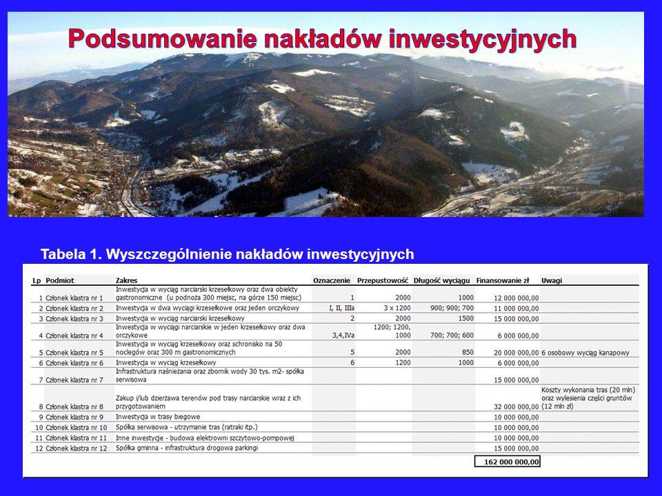 Tabela 1. Wyszczególnienie nakładów inwestycyjnych