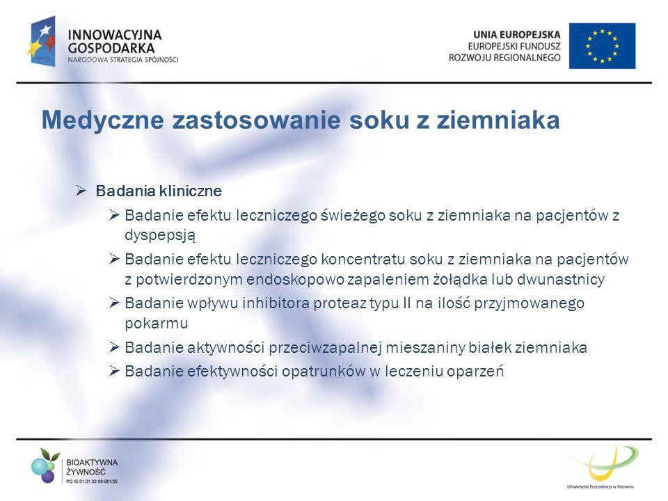 Medyczne zastosowanie soku z ziemniaka  Badania kliniczne  Badanie efektu leczniczego świeżego soku z ziemniaka na pacjentów z dyspepsją  Badanie e