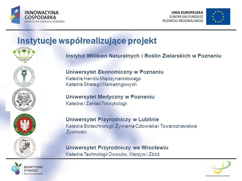 Instytucje współrealizujące projekt Instytut Włókien Naturalnych i Roślin Zielarskich w Poznaniu Uniwersytet Ekonomiczny w Poznaniu Katedra Handlu Mię