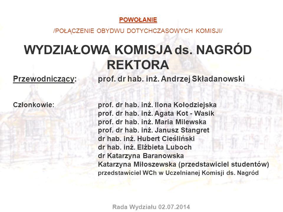 POWOŁANIE /POŁĄCZENIE OBYDWU DOTYCHCZASOWYCH KOMISJI/ WYDZIAŁOWA KOMISJA ds. NAGRÓD REKTORA Przewodniczący: prof. dr hab. inż. Andrzej Składanowski Cz