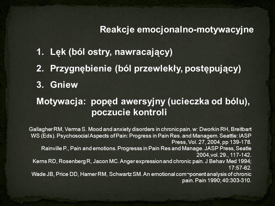 Reakcje emocjonalno-motywacyjne 1.Lęk (ból ostry, nawracający) 2.Przygnębienie (ból przewlekły, postępujący) 3.Gniew Motywacja: popęd awersyjny (ucieczka od bólu), poczucie kontroli Gallagher RM, Verma S.