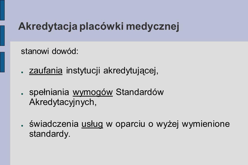 Akredytacja placówki medycznej stanowi dowód: ● zaufania instytucji akredytującej, ● spełniania wymogów Standardów Akredytacyjnych, ● świadczenia usłu