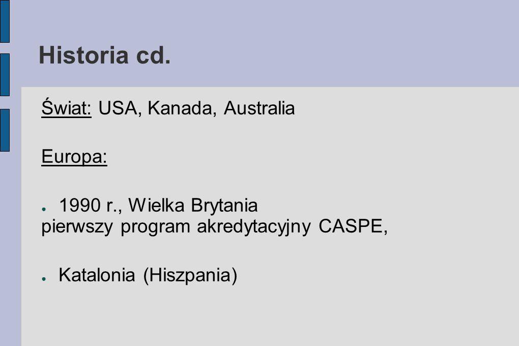 Historia cd. Świat: USA, Kanada, Australia Europa: ● 1990 r., Wielka Brytania pierwszy program akredytacyjny CASPE, ● Katalonia (Hiszpania)