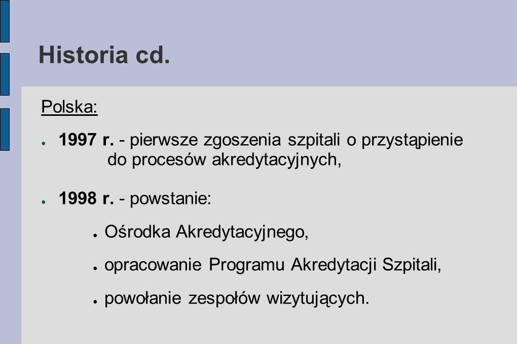 Historia cd. Polska: ● 1997 r. - pierwsze zgoszenia szpitali o przystąpienie do procesów akredytacyjnych, ● 1998 r. - powstanie: ● Ośrodka Akredytacyj