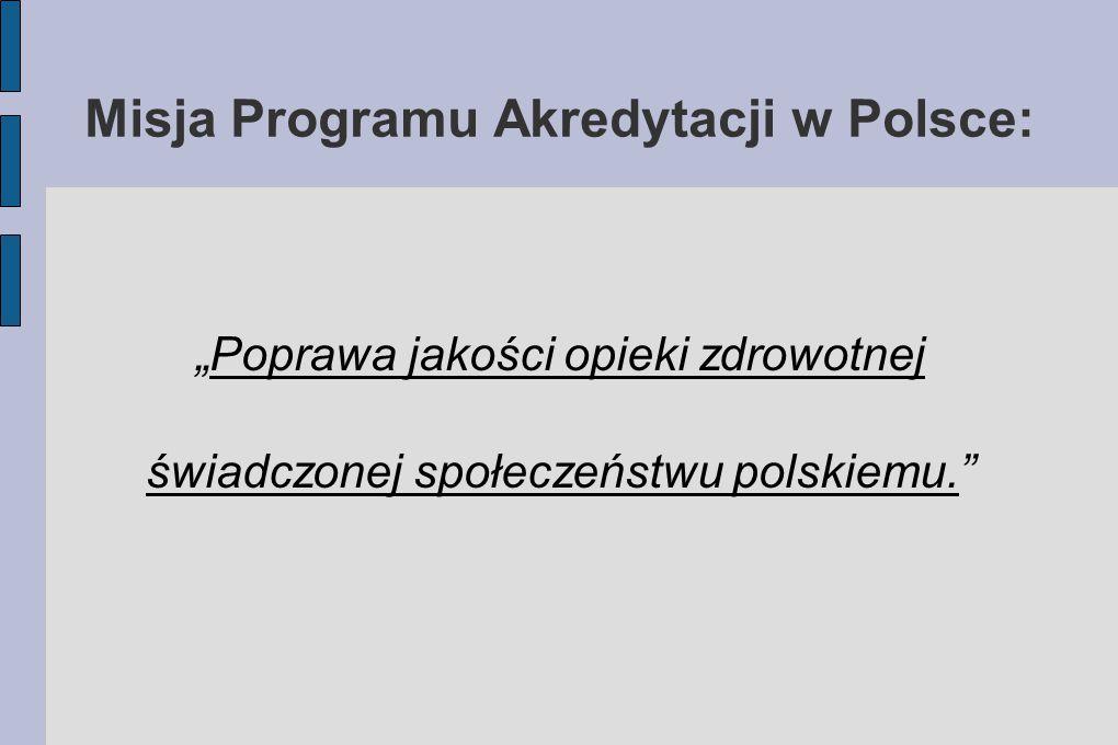 """Misja Programu Akredytacji w Polsce: """"Poprawa jakości opieki zdrowotnej świadczonej społeczeństwu polskiemu."""""""