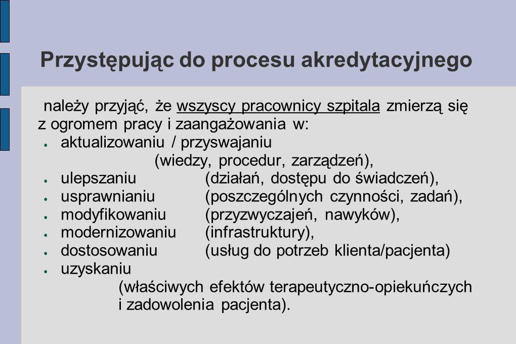 Proces akredytacyjny ● Praca zbiorowa, oceniana cząstkowo, ● Egzamin dla Szpitala i pracowników, ● Narzędzie do wystawienia oceny, ● Świadectwem z notą pozytywną jest Certyfikat Akredytacyjny.