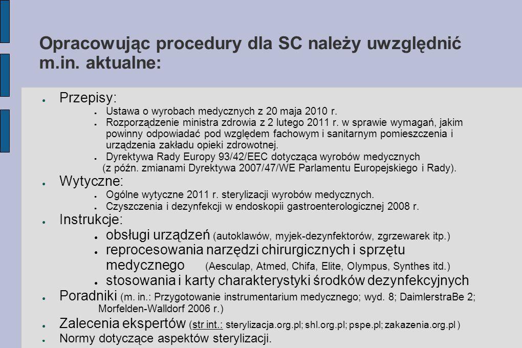 Opracowując procedury dla SC należy uwzględnić m.in. aktualne: ● Przepisy: ● Ustawa o wyrobach medycznych z 20 maja 2010 r. ● Rozporządzenie ministra