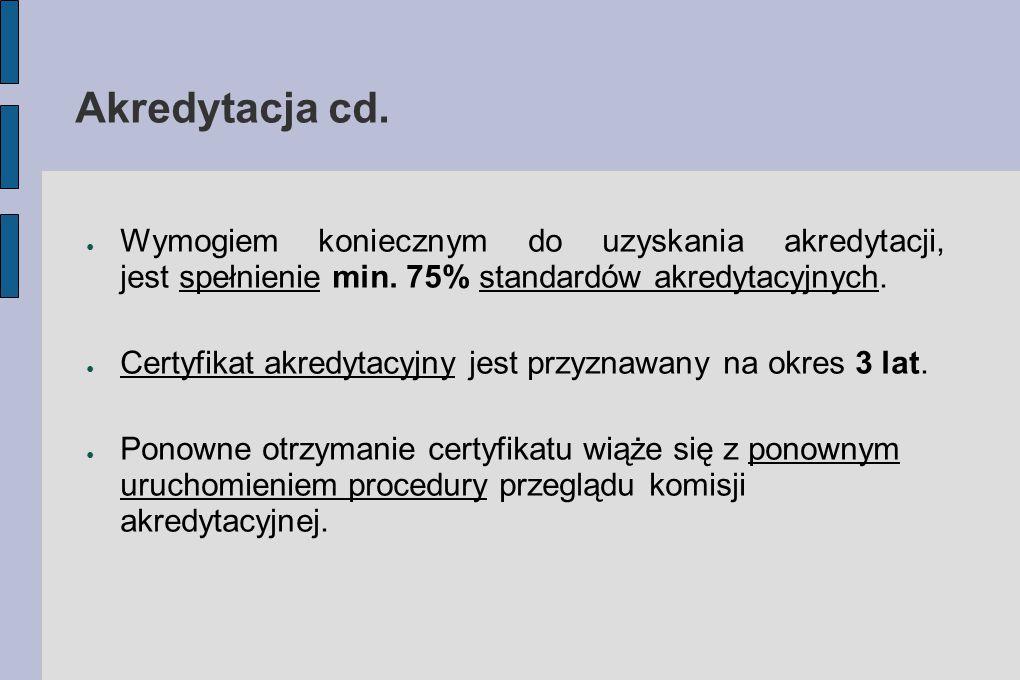 Akredytacja cd. ● Wymogiem koniecznym do uzyskania akredytacji, jest spełnienie min. 75% standardów akredytacyjnych. ● Certyfikat akredytacyjny jest p