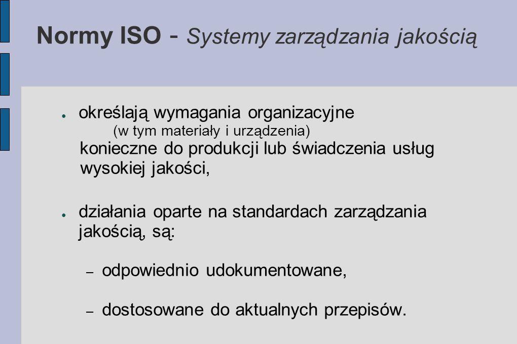 Normy ISO - Systemy zarządzania jakością ● określają wymagania organizacyjne (w tym materiały i urządzenia) konieczne do produkcji lub świadczenia usł