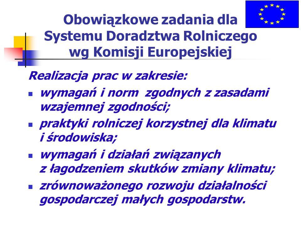 Obowiązkowe zadania dla Systemu Doradztwa Rolniczego wg Komisji Europejskiej Realizacja prac w zakresie: wymagań i norm zgodnych z zasadami wzajemnej