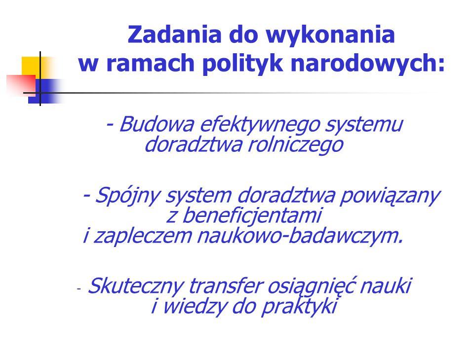 Zadania do wykonania w ramach polityk narodowych: - Budowa efektywnego systemu doradztwa rolniczego - Spójny system doradztwa powiązany z beneficjenta