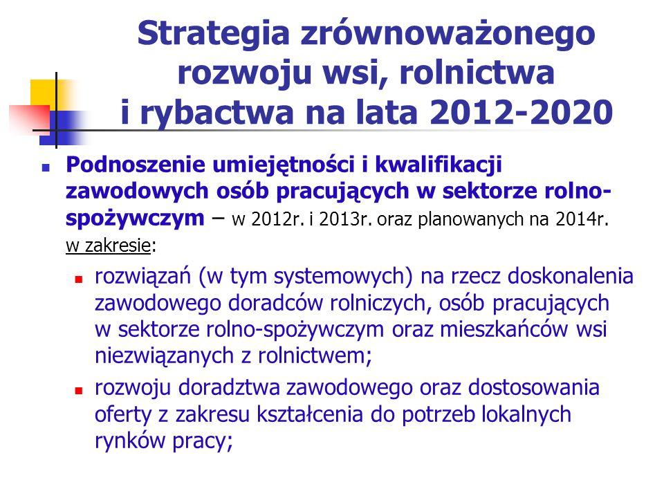 Strategia zrównoważonego rozwoju wsi, rolnictwa i rybactwa na lata 2012-2020 Podnoszenie umiejętności i kwalifikacji zawodowych osób pracujących w sek