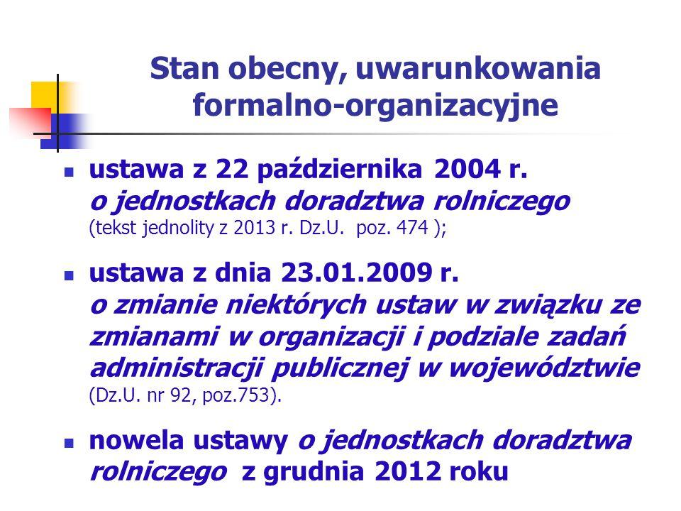 Stan obecny, uwarunkowania formalno-organizacyjne ustawa z 22 października 2004 r. o jednostkach doradztwa rolniczego (tekst jednolity z 2013 r. Dz.U.