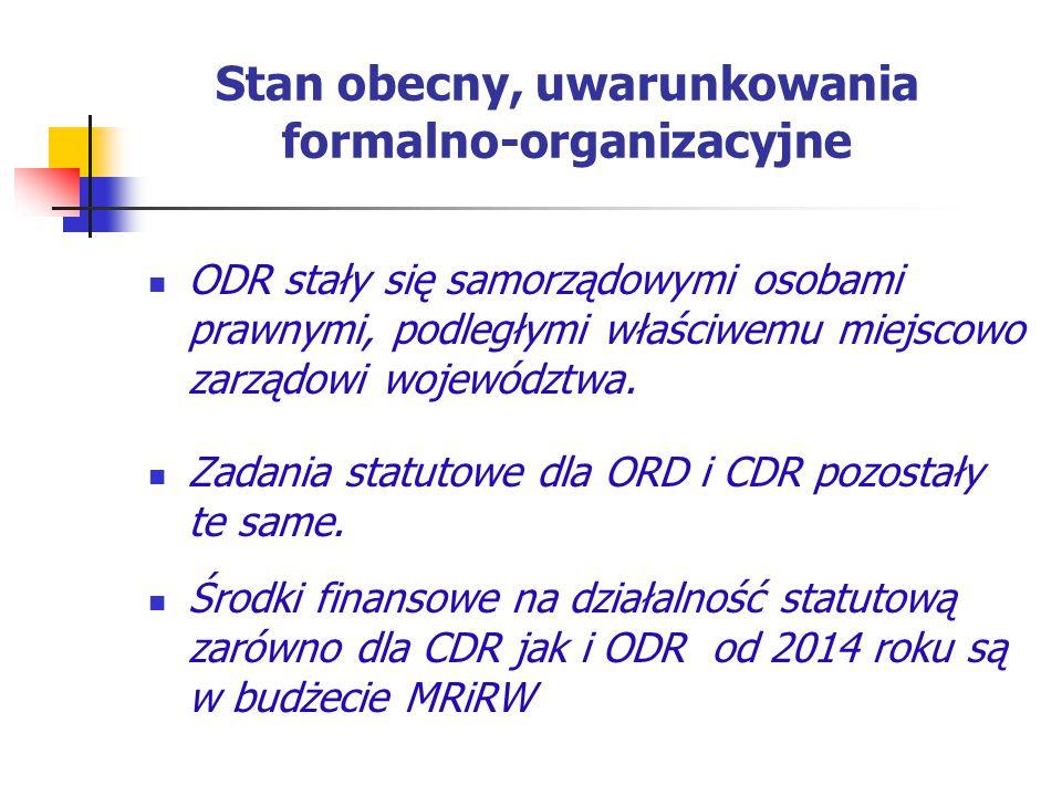 Stan obecny, uwarunkowania formalno-organizacyjne ODR stały się samorządowymi osobami prawnymi, podległymi właściwemu miejscowo zarządowi województwa.