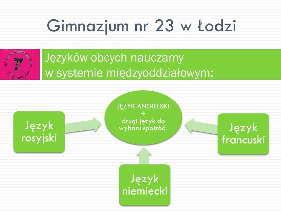 JĘZYK ANGIELSKI + drugi język do wyboru spośród: Język rosyjski Język niemiecki Język francuski Języków obcych nauczamy w systemie międzyoddziałowym: