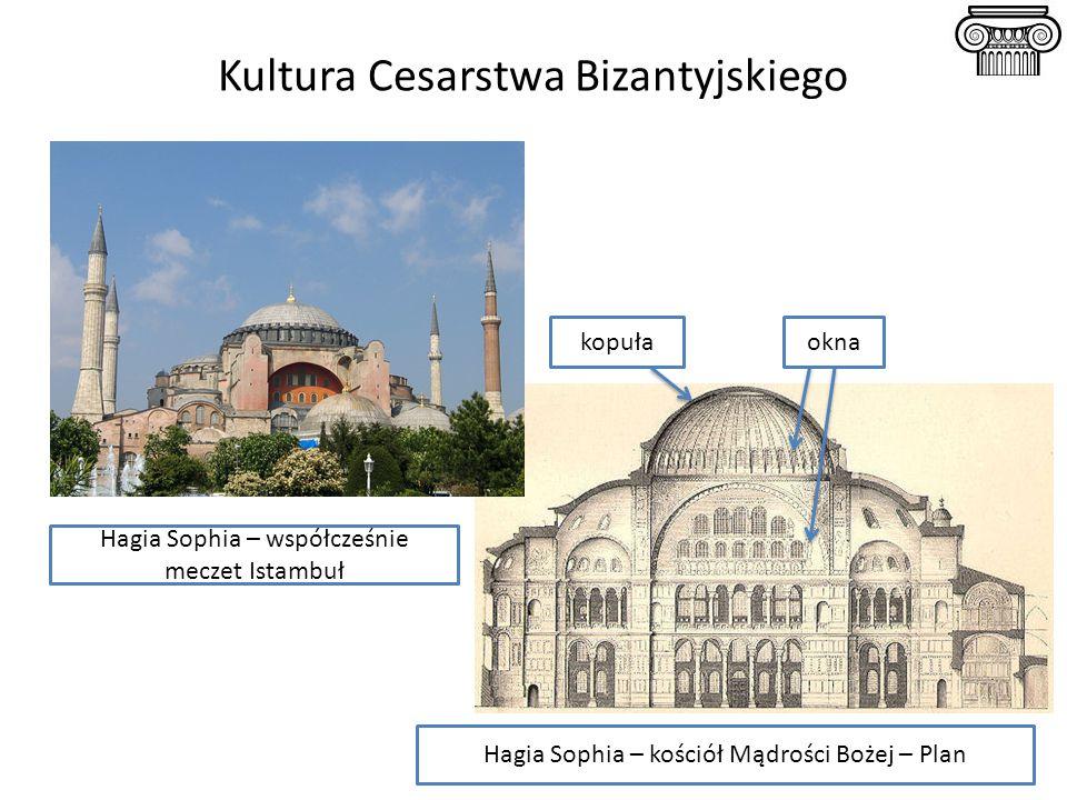 Kultura Cesarstwa Bizantyjskiego Hagia Sophia – kościół Mądrości Bożej – Plan Hagia Sophia – współcześnie meczet Istambuł kopułaokna