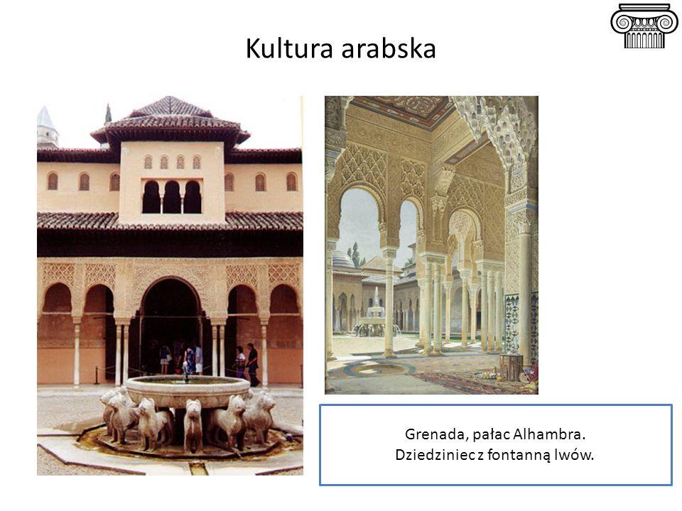 Kultura arabska Grenada, pałac Alhambra. Dziedziniec z fontanną lwów.