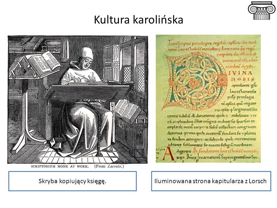 Kultura karolińska Skryba kopiujący księgę.Iluminowana strona kapitularza z Lorsch