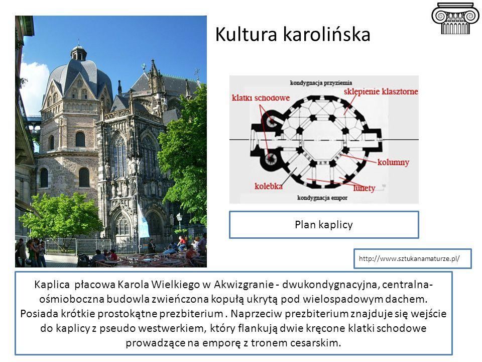 Kultura karolińska Kaplica płacowa Karola Wielkiego w Akwizgranie - dwukondygnacyjna, centralna- ośmioboczna budowla zwieńczona kopułą ukrytą pod wiel