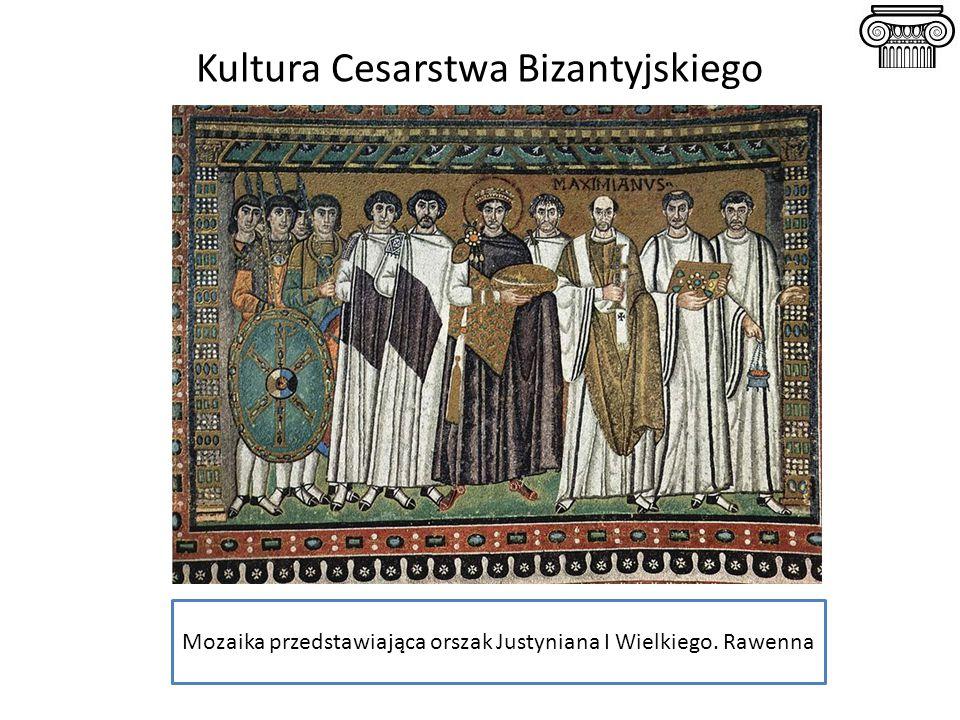 Kultura Cesarstwa Bizantyjskiego Mozaika przedstawiająca orszak Justyniana I Wielkiego. Rawenna