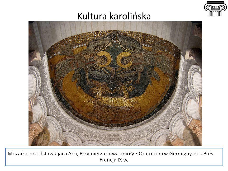 Mozaika przedstawiająca Arkę Przymierza i dwa anioły z Oratorium w Germigny-des-Prés Francja IX w. Kultura karolińska