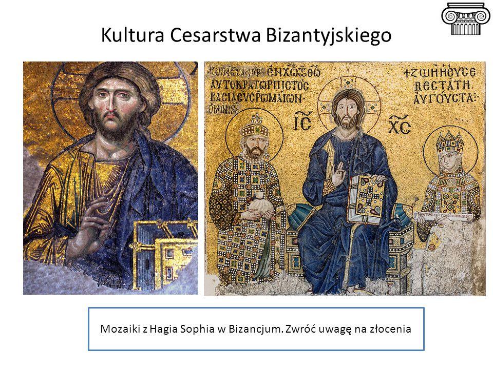 Kultura Cesarstwa Bizantyjskiego Mozaiki z Hagia Sophia w Bizancjum. Zwróć uwagę na złocenia