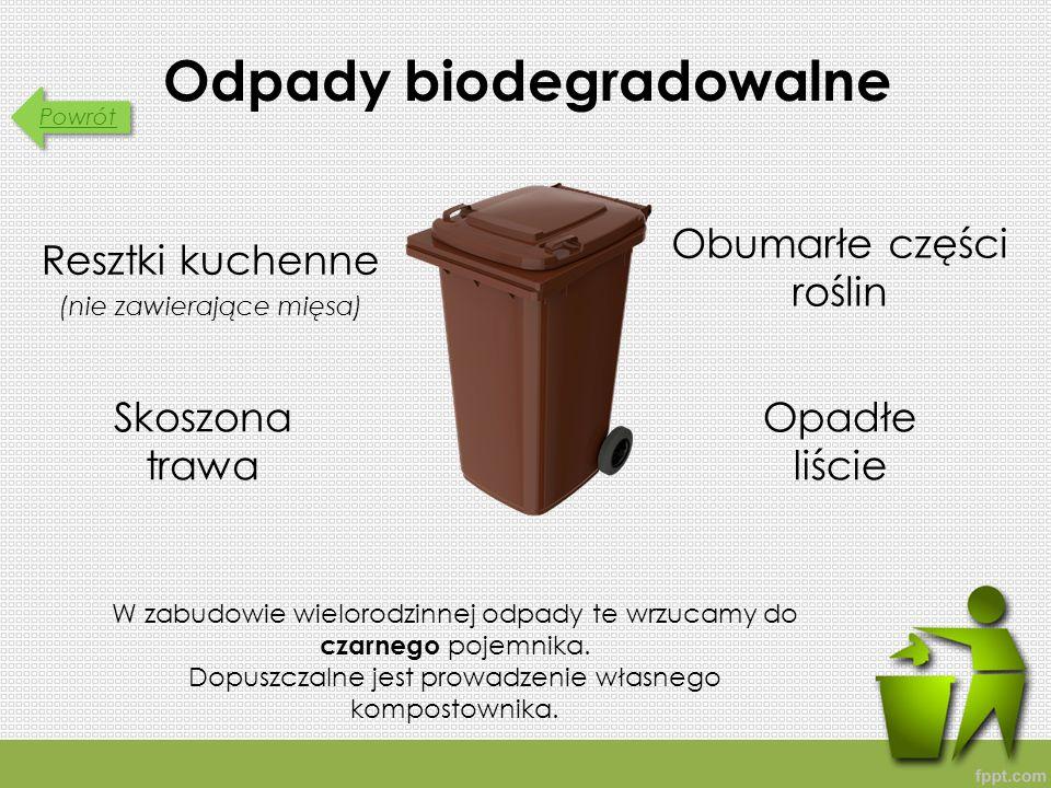 Powrót Odpady biodegradowalne Resztki kuchenne (nie zawierające mięsa) W zabudowie wielorodzinnej odpady te wrzucamy do czarnego pojemnika.