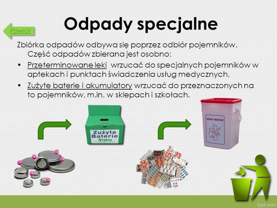Powrót Odpady specjalne Zbiórka odpadów odbywa się poprzez odbiór pojemników.