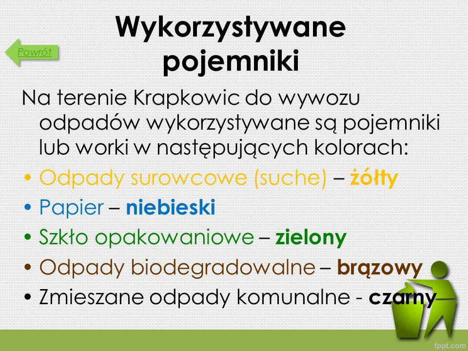 Wykorzystywane pojemniki Na terenie Krapkowic do wywozu odpadów wykorzystywane są pojemniki lub worki w następujących kolorach: Odpady surowcowe (suche) – żółty Papier – niebieski Szkło opakowaniowe – zielony Odpady biodegradowalne – brązowy Zmieszane odpady komunalne - czarny