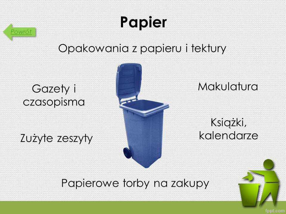 Powrót Papier Opakowania z papieru i tektury Papierowe torby na zakupy Zużyte zeszyty Makulatura Gazety i czasopisma Książki, kalendarze