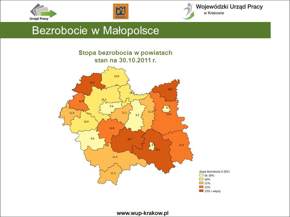 Stopa bezrobocia w powiatach stan na 30.10.2011 r.